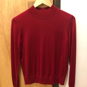 Theory long-sleeve mock-neck in a beautiful red